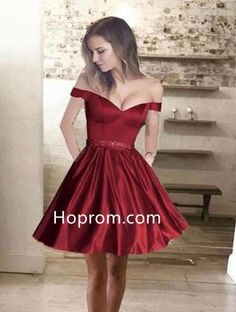 050ee0d273823 Short Beading Burgundy Homecoming Dress, Off the shoulder Prom Dress