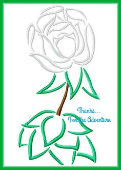 Alice in Wonderland Singing White Rose Flower Sketch Digital Embroidery Machine Design File 4x4 5x7 6x10 by Thanks4TheAdventure on Etsy
