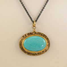 Yellow Gold and Oxidized Sterling Silver Kingman Turquoise Gela Pendant Necklace