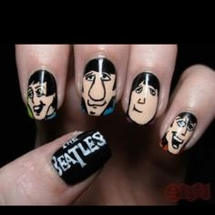 THE FAB FOUR at your fingertips! This is awesome! #beatles #nailart