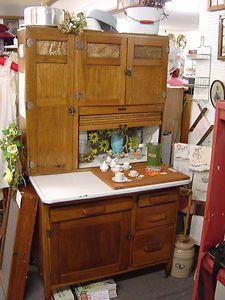 vintage kitchen hoosiers   Vintage-Antique-Oak-Kitchen-Maid-Hoosier-Cupboard-Cabinet-Indiana-Ex ...