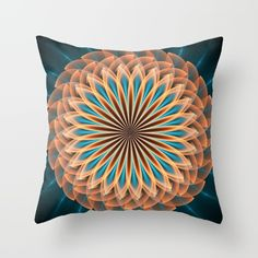 Floral mandala in orange and blue Throw Pillow