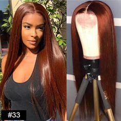 Dark Auburn (#33) Straight 5x5 Lace Closure Wig - 22\ / 250%