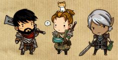 Adorable Chibi style art of some of the men of Dragon Age 2 by Sandara