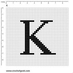 Filet Crochet Alphabet Letter K Free crochet patterns Crochet Geek Graph Crochet, Filet Crochet Charts, Crochet Geek, C2c Crochet, Tapestry Crochet, Thread Crochet, Free Crochet, Crochet Alphabet Letters, Cross Stitch Letters