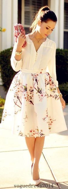 white shirt   floral midi skirt
