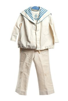 Boy's white cotton sailor suit. It was purchased from Best & Co., New York, famous for their array of children's clothing.