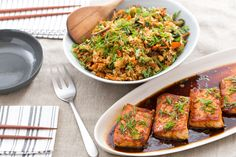 Orange-Ginger Salmon with Shiitake Mushroom & Yu Choy Fried Rice (blue apron - one of our absolute favorites - our 3 & 5 year old kids ate it all!)