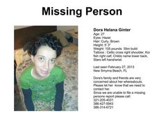Missing Persons of America: Dora Ginter #missing from Smyrna Beach FLA