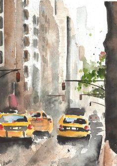 Watercolor Painting - Madison Avenue
