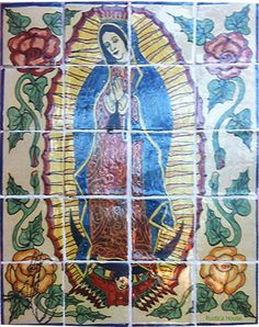 "A rustic tile mural looks pretty on a kitchen wall backsplash, bathroom wall or table-top. Our Lady of Guadalupe mural sku 19000 is available in custom made dimensions. rustic tiles can be also installed in swimming pools, fountains and outside of the buildings. Tile Mural ""Our Lady of Guadalupe"" by Rustica House. #RusticaHouse"