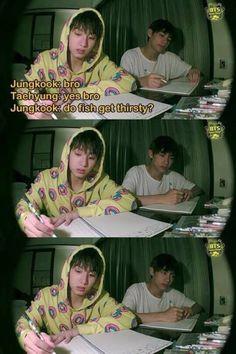 BTS Jungkook and Taehyung Memes Bts Español, Vkook Memes, Bts Memes Hilarious, Funny Tweets, K Pop, Bts E Got7, Bts Bangtan Boy, Jungkook Funny, Jungkook Smile