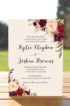 Bohemian Wedding Invitation Suite Fall Wedding Invitation | Etsy