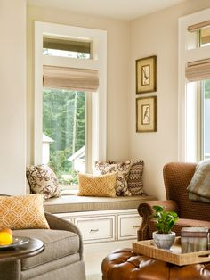 This is more the way I envisioned the banquette---comfy cushion/storage underneath/lots of pillows/maybe wasn't thinking about a back? Not sure if that's practical w/grandkids but not sure they would be sitting there often--Basic, Sophisticated Hues