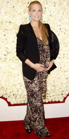 Look of the Day › February 25, 2012 WHAT SHE WORE Sims flaunted her baby bump in a printed maxi dress and a fitted blazer, turquoise Graziela Couture earrings and black peep-toes at QVC's event.