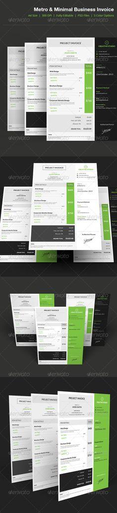 Metro Style Business Invoice - 04 attractive, beautiful, business, cmyk, creative, designer, developer, executive, freelancer, hd, inspire, invoice, metro, minimal, modern, premium, print ready, project, royal, stylish, Metro Style Business Invoice - 04