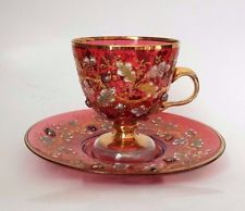 Antique Moser Cranberry Glass Footed Cup & Saucer Acorn, Oak Leaf  and a Fly