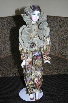 Porcelain Harlequin Jester Mardi Gras Joker Movement Doll Wind Up Music Box | eBay