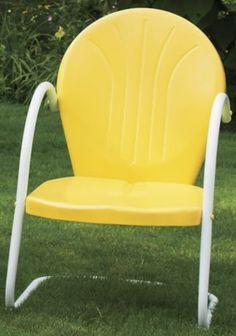 "retro metal lawn chair (yellow) (34""h x 24""w x 25""d). color"