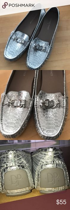DONALD PLINER Silver Embossed VIKY Loafer Size 10. Excellent Gently Worn Preowned Condition. Super Comfy Driving Loafer. Silver Snakeskin? Embossed with Silver Tone Hardware. Donald J. Pliner Shoes Flats & Loafers