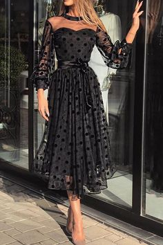Womens Dress 2020 Spring Summer Plus Size Ladies Polka Dot Lace Mesh Maxi Dresses Evening Party Dress Vestidos Female Clothing Fall Dresses, Sexy Dresses, Evening Dresses, Fashion Dresses, Dresses With Sleeves, Casual Dresses, Prom Dresses, Mesh Dress, Belted Dress