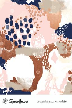 color palette Colorful fabrics digitally printed by Spoonflower - sonia abstract fabric painted rose gold blush pink and navy fabric Rose Gold Color Palette, Gold Color Palettes, Modern Color Palette, Fall Color Palette, Boho Dekor, Navy Fabric, Indie, Christmas Colors, My New Room