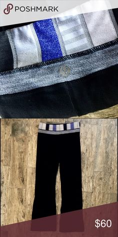Lululemon Wunder Under Reversible Pant Wunder Under reversible yoga pant with striped waistband.  The stripes are blue, gray, and black. The reversed side is all black. In good condition lululemon athletica Pants