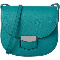Celine Trotteur Small Leather Shoulder Bag (429.325 HUF) ❤ liked on Polyvore featuring bags, handbags, shoulder bags, green, celine handbags, blue leather purse, celine shoulder bag, blue purse and green leather purse