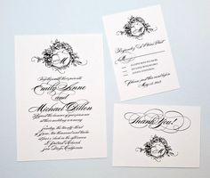 Black and White Monogram Wedding Invitation Suite by encrestudio on Etsy, $3.50