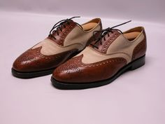 44a413735d7 Peal  amp  Co Brooks Brothers Leather Canvas Brown Tan Wingtip Shoes Sz  7.5D EUC
