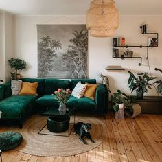 There's nothing more comforting then coming home to my living room. It welcomes me like a mom welcoming her child home. Living Room Goals, Living Room Green, Boho Living Room, Bohemian Living, Living Rooms, Living Room Inspiration, Room Interior, Interior Design, Living Room Designs