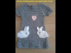 DIY.Tutorial crochet bunny dress rochita crosetata cu iepurasi. Tutorial bunny crochet ... tutorial iepurasi crosetati ...