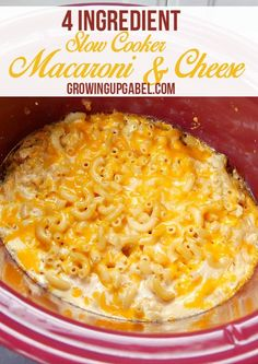 4 ingredient slow cooker mac and cheese recipe is an easy slow cooker recipe that makes homemade mac and cheese with uncooked noodles, evaporated milk, and just 2 other easy ingredients.