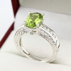 Natural Green Peridot Solid 14K White Gold Antique Diamond Ring | gngjewel - Jewelry on ArtFire