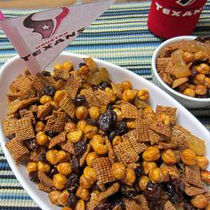 Chex Mix made with garbanzo beans: this might be a great way to replace peanuts in trail mix! Will have to experiment with this one!