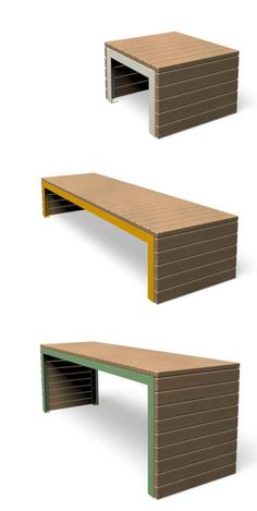 Beautifully simple - WOODROW by miramondo - a bench made from untreated wood and colourful steel parts. Bench Designs, Street Furniture, Outdoor Furniture, Outdoor Decor, Ottoman, Steel, Simple, Wood, Table