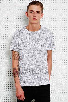Shore Leave Linear Tee in Black & White at Urban Outfitters