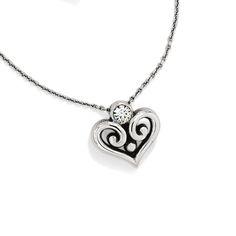 Brighton Alcazar Heart Necklace features a swirly filigree heart.