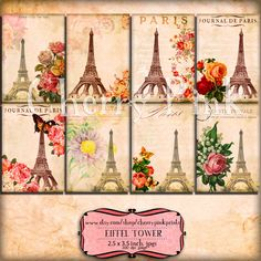 EIFFEL TOWER digital collage sheet, 6 paris vintage french designs, supplies for scrapbooking collage digital download
