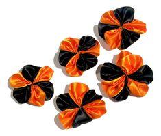 "Black & orange Halloween 1.5"" satin petal flower"