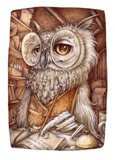 literate owl by Adam Oehlers via Dmitry Sergeevich