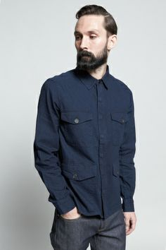 Shop for Vanishing Elephant Shirts for Men | Military Shirt in Denim | Incu