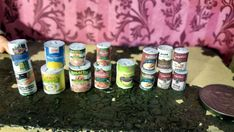 Kitchen Canned Food Pantry Items Soup Accessories 15pc Dollhouse 1:12 Miniature #Handmade