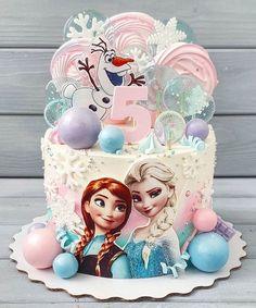 Frozen Themed Birthday Cake, Frozen Themed Birthday Party, Disney Princess Birthday, Baby Birthday Cakes, Beautiful Birthday Cakes, 5th Birthday, Idee Baby Shower, Frozen Party Decorations, Girly Cakes