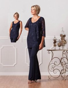 2015 Dark Navy Mother Of The Bride Pant Suits With Jewel Neck Sequins Lace And…