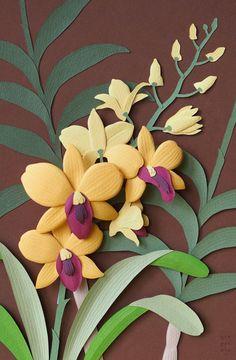 Orchid paper art sculpture by Bangkok artist/designer Wirin Chaowana 3d Paper Art, Paper Artwork, Diy Paper, Paper Crafts, Flower Crafts, Diy Flowers, Paper Flowers, Origami, Paper Magic