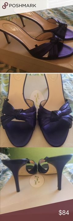 """PRICE DROP! 🎉SJP """" Tizzie"""" sandal size 38.5/ 8🎉 By Sarah Jessica Parker . Made in Italy . Purple leather  ( Liberty Metal Nappa ) size Euro 38.5/ US 8 gorgeous . These shoes look  look and feel amazing on !! I get compliments every time I wear them . New but were a display model so have been tried on . No box . I also have this shoe for sale in my closet in size 8.5, and 9.5!! SJP Shoes Heels"""