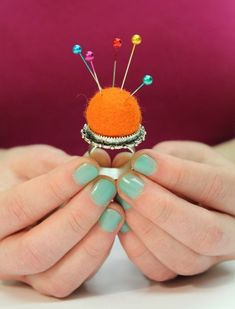 Karen, from I Always Pick The Thimble, created this great pin ring using a felted ball and a Nunn Design Ornate Ring. Love it!
