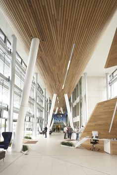 O2 HQ, Slough, UK.  Bennett Architects. Solid Wood #Ceiling system by Hunter Douglas Contract. #architecture