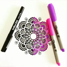 Black & White or Color? Creative mandala art by @pixichikjb Use colored pencils from Aurora art supplies! http://aurora-artsupplies.com